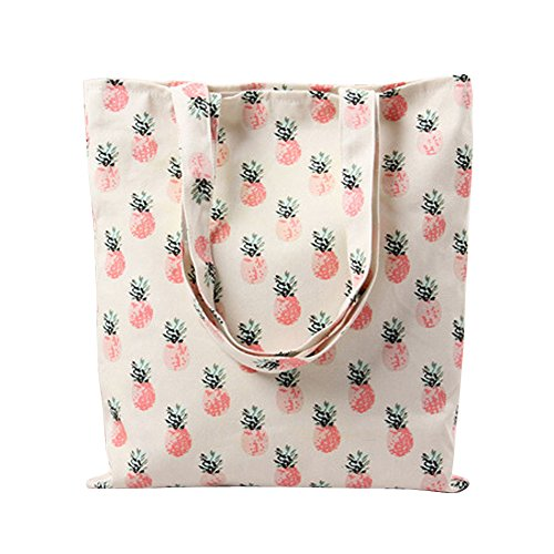 Flowertree Women's Cartoon Floral Fruit Print Canvas Tote Bag (L224-Pineapple/Open)