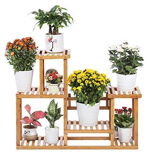 Bamboo Plant Stand Rack 4 Tier Indoor&Outdoor Multiple Flower Pot Holder Shelf Planter Display Shelving Unit for Patio…