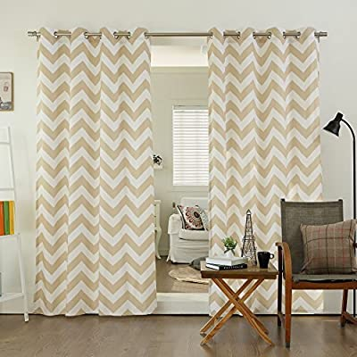 "Best Home Fashion Closeout Chevron Print Velvet Curtains - Stainless Steel Nickel Grommet Top - Beige - 52"" w X 84"" l - (Set of 2 Panels) - Each panel has 8 silver grommets; Each set has a total of 16 silver grommets Set: 104"" W x 84"" L / Panel: 52"" W x 84"" L ; 8 Grommet per panel; 1.6"" Diameter of Grommet , Included Grommet Rim 2.7"" Set contains 2 panels - living-room-soft-furnishings, living-room, draperies-curtains-shades - 51OUddDlD5L. SS400  -"