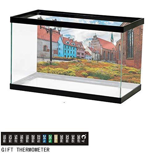 Suchashome Fish Tank Backdrop Victorian,Old City Riga Latvia,Aquarium Background,48