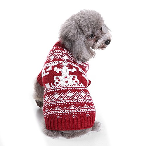 S-Lifeeling Moose Christmas Dog Sweater Holiday Halloween Christmas Pet Clothes Soft Comfortable Dog (Make Your Own Pirate Costume Ideas)