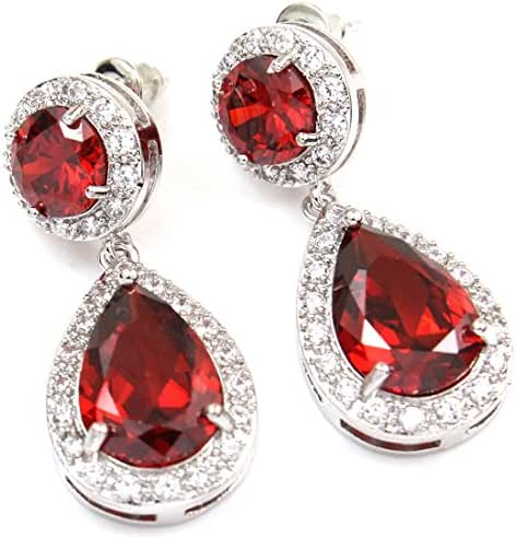 FC Silver White Gold Plated Colorful CZ Crystal Teardrop Dangle Bridal Jewelry Fashion Earrings