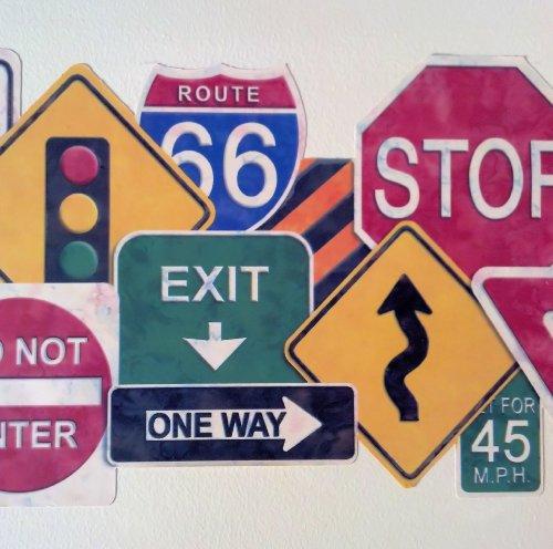 - Die Cut Road Sign Wallpaper Border…