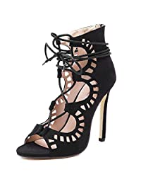 Womens Suede hollow Out Lace Up Sexy Sandals