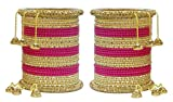 Muchmore Metal Set Of 64 Punjabi Pink Wedding Bangles Set For Women