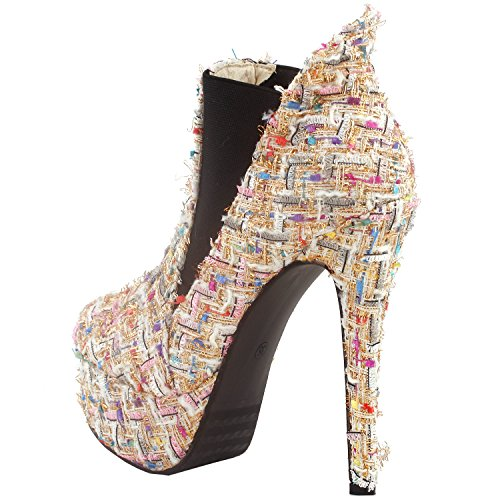 White Boot Show Beige Bootie Ankle and Story Stiletto LF80843 Blue Porcelain Platform tq8HTq