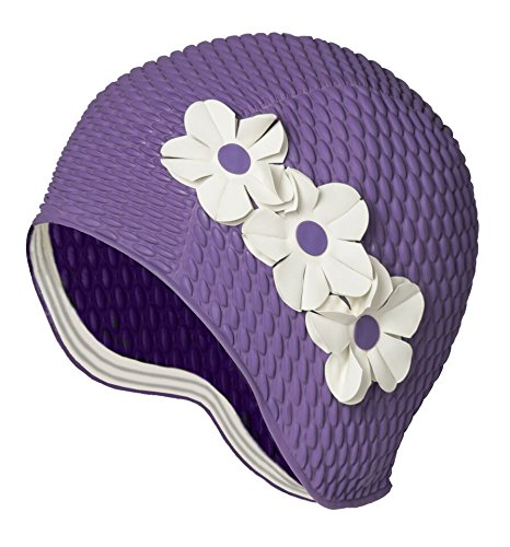 Latex Swim Cap - Women Stylish Swimming Cap Great for Ladies, Perfect to Keep Hair Dry - Suitable for Long Hair - Bubble Crepe with Laveneder and White Flowers ()