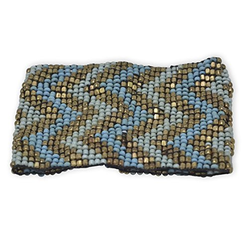 """Gold and Blue Chevron Design Stretch Fashion Bracelet Wide stretch fashion bracelet with beaded chevron pattern. The bracelet has gold tone metal beads, along with light blue and dark blue glass seed beads. The bracelet has a total of 23 rows of beads, and is approximately 2.25"""" wide. Fashion jewelry contains base metal."""