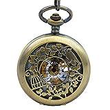 Timeconcept Bronze Tone Steampunk Skeleton Retro Bird Cage Design Case Men Women Hand Wind Mechanical Pocket Watch With Chain