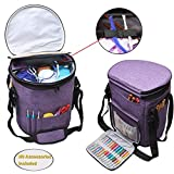 Teamoy Knitting Tote Bag, Yarn Storage Organizer with a Cover, Inner Dividers for Yarn, Unfinished Projects, Crochet Hooks, Knitting Needles and Other Supplies, Purple