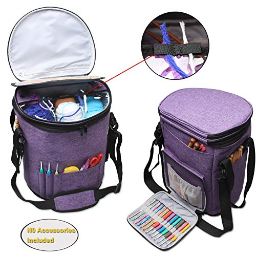 Teamoy Knitting Tote Bag, Yarn Storage Organizer with a Cover, Inner Dividers for Yarn, Unfinished Projects, Crochet Hooks, Knitting Needles and Other Supplies, Purple by Teamoy