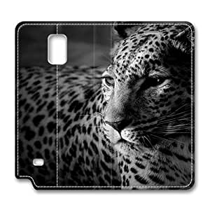Brain114 Fashion Style Case Design Flip Folio PU Leather Cover Standup Cover Case with Black And White Jaguar Pattern Skin for Samsung Galaxy Note 4