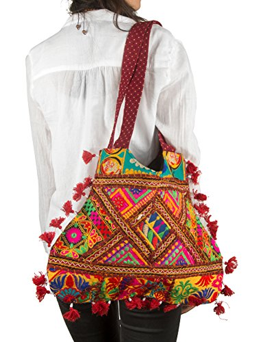 Colorful Shoulder Floral Red Tribe Bag Roomy Casual Top Handle Tassel Boho Girl Azure Fashion Tote Women ZqrqnxI5X