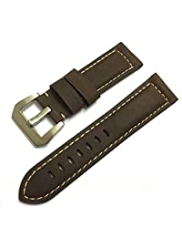 24mm Calf Leather Brushed Buckle Padded Vintage Dark Brown Watch Band for Men