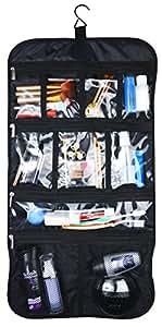 Premium Hanging Nylon Cosmetic Bag - Toiletry & Accessory Storage Organizer Bag (Black)