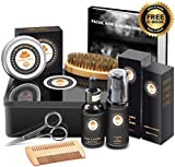 Best Top Deal Beard Growth Grooming Care Kit w/METAL GIFT BOX,Beard Shampoo/Wash,Unscented Beard Conditioner Oil,Beard Balm,Brush,Comb,Scissor,Unique Gag Boyfriend Gifts for Men