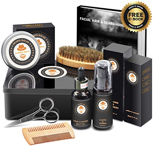 Best Top Deal Beard Growth Grooming Care Kit w/METAL GIFT BOX,Beard Shampoo/Wash,Unscented Beard Conditioner Oil,Beard Balm,Brush,Comb,Scissor,Unique Gag Boyfriend Gifts for Men -