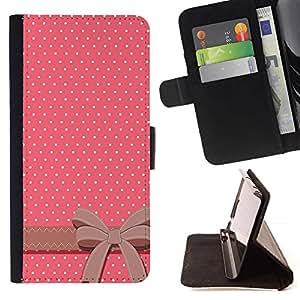 For Sony Xperia Z2 D6502 Case , Modelo de punto Pajarita Rosa Blanco- la tarjeta de Crédito Slots PU Funda de cuero Monedero caso cubierta de piel