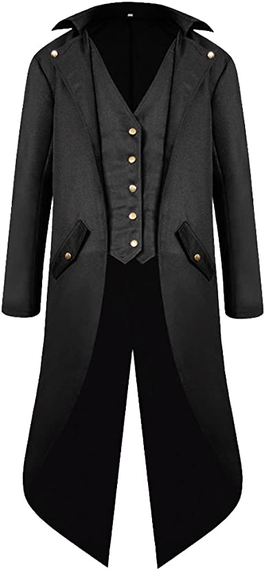 Mens Vintage Steampunk Tailcoat Jacket Gothic Victorian Frock Coat Cosplay Suit