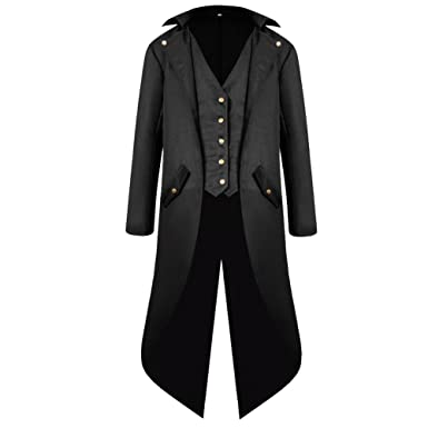Hu0026ZY Menu0027s Steampunk Vintage Tailcoat Jacket Gothic Victorian Frock Coat  Uniform Halloween Costume Black