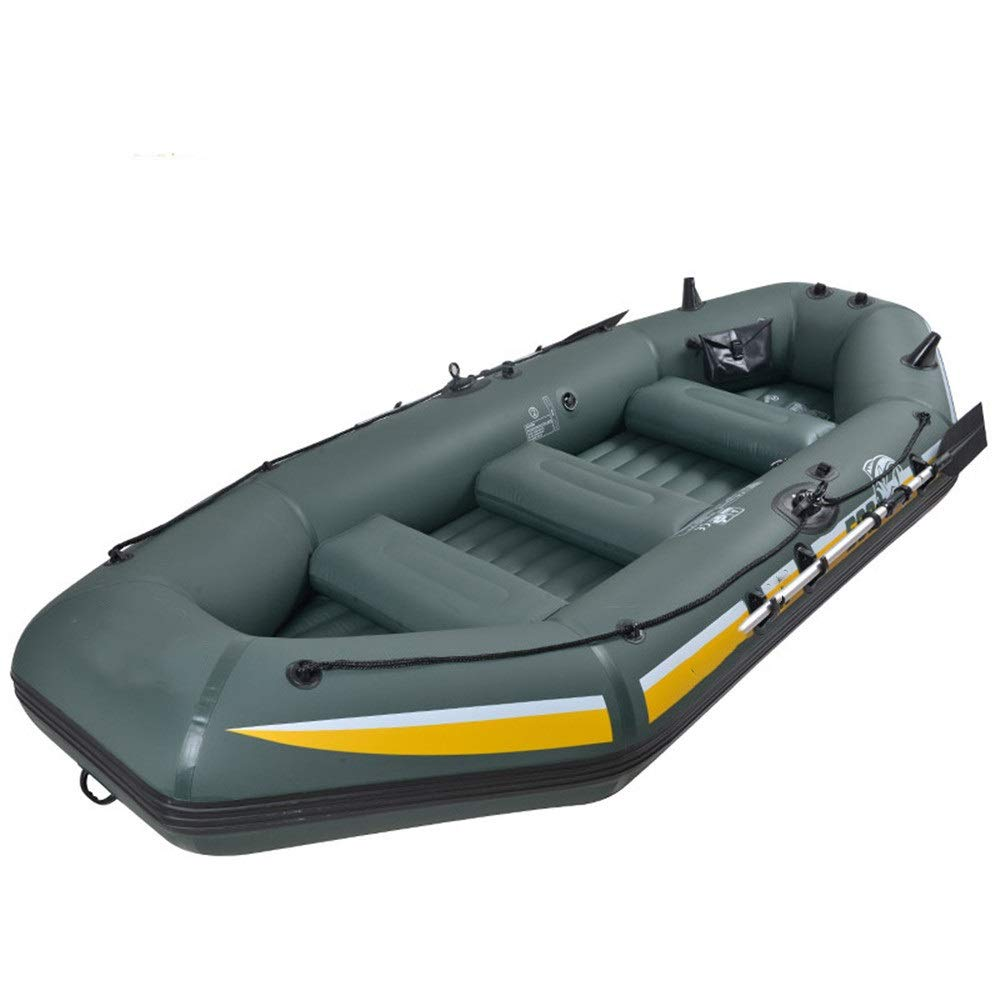 ZnMig Easy to Use Durable Inflatable Fishing Boat Kayak Thickening Assault Boat Drifting Boat Wearable Inflatable 2 People 3 People 4 People Boat (Color : Green, Size : 240x128x43cm) by ZnMig