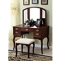 Lawrence Women Bedroom 3 Piece Set Vanity Table, Tri Mirror, Stool in Cherry Wood