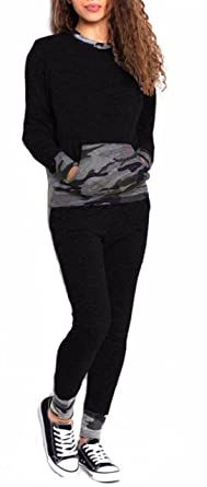 69f73a2398e6 Women 2 Piece Camouflage Tartan Sweat Jogger Tracksuit Gym lot Lounge Wear  Set UK Plus Size