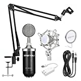 ZINGYOU BM-8000 Professional Studio Condenser Microphone Set, XLR Condenser Mic Bundle for Recording (Black)