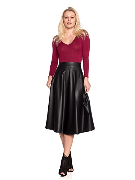 58d84596ddb Women s J2 Love Faux Leather Flare Skirt at Amazon Women s Clothing store