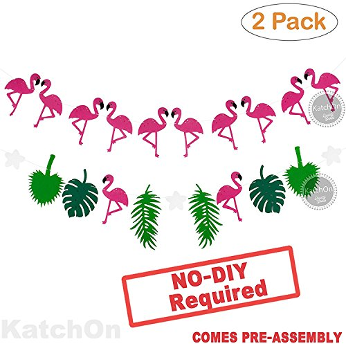 FLAMINGO PINEAPPLE LEAVES BANNER GARLAND - No DIY Required. 2 Pack | Felt Banner |Flamingo Pineapple Party Decorations | Monstera Palm Leaves | Luau Tropical Jungle Beach Safari Party Supplies - Flamingo Out Cut
