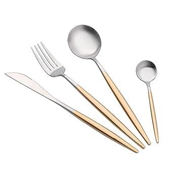 kobay Portugal estilo inoxidable cubiertos tenedor cuchara cubiertos vajilla 4 pcs sets E: Amazon.es: Hogar