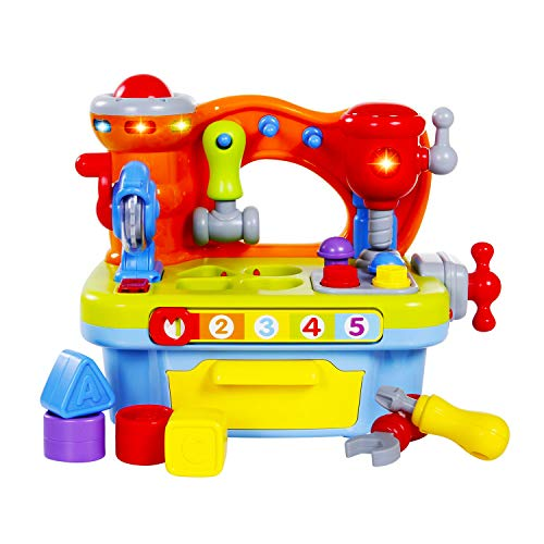 - Zoostliss Musical Learning Tool Workbench Work Bench Toy Activity Center for Kids with Shape Sorter