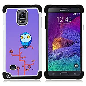 BullDog Case - FOR/Samsung Galaxy Note 4 SM-N910 N910 / - / YELLOW ART OWL TREE EYES BIG BLUE /- H??brido Heavy Duty caja del tel??fono protector din??mico - silicona suave