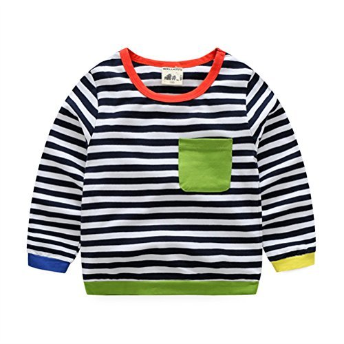 UWESPRING Boy Kids Classic Long Sleeve Striped T-Shirt Casual Blouse 4T