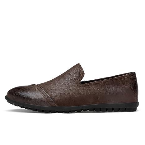 Sunny&Baby Zapatos de Cuero Genuino para Hombre Slip On Casual Mocasines para Trabajo Antideslizante (Color