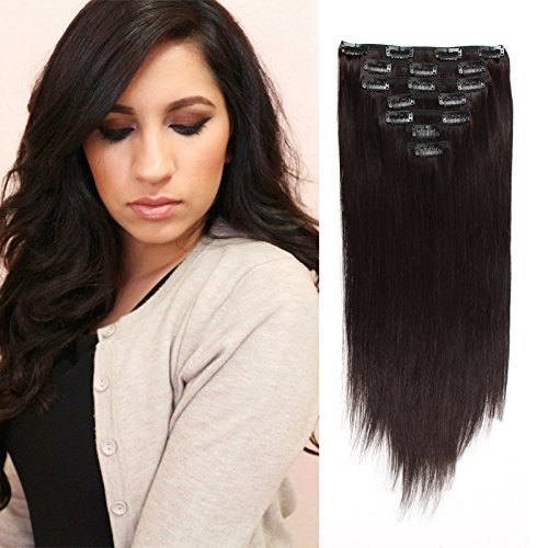 OrderWigsOnline Unprocessed 7A Straight Clip In Human Hair Extensions 1B# 100% Virgin Remy Human Hair 7 Pieces 120gram 18inch