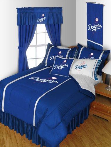 Los Angeles Dodgers 8 Pc QUEEN Comforter Set (Comforter, 1 Flat Sheet, 1 Fitted Sheet, 2 Pillow Cases, 2 Shams, 1 Bedskirt) SAVE BIG ON BUNDLING!