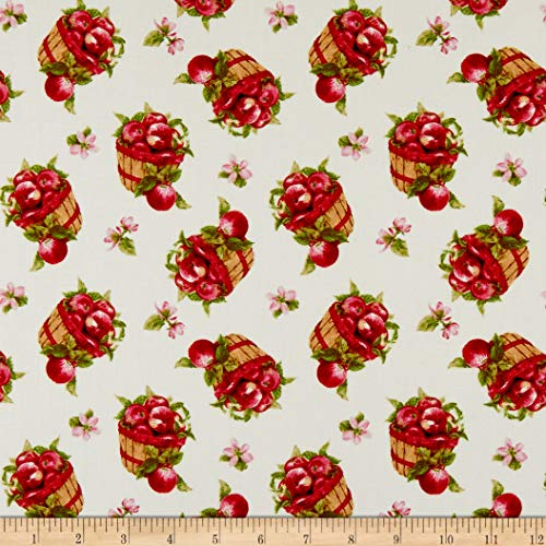 Henry Glass & Co. Apple Festival Tossed Baskets Cream Fabric Fabric by the - Fabric With Apples