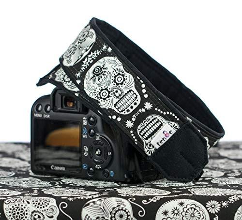 (Camera Strap, Sugar Skulls Glow in the Dark, Fits dSLR, SLR or Mirrorless Cameras Dia de los Muertos, 237)