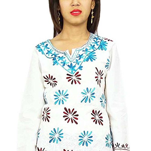 Patrón de algodón bordado de la lana para Kurti Kurta indio floral Mujeres Ropa Kurties desgaste étnico Azul