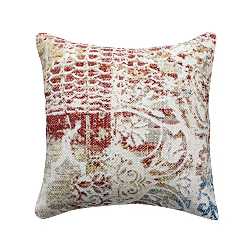 ThymeHome Urban Amber Printed Hand Woven Dhurri Pillow – 100 Cotton Decorative Accent Pillows 18 x 18 Inch Multicolor