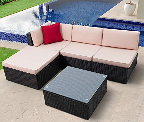 KaiMeng Outdoor Patio Furniture Lawn Garden Patio Sets All-Weather Wicker PE Ratten Sectional Sofa Sectional Conversation Sets with Seat Cushions and Coffee Table (5 Pieces)