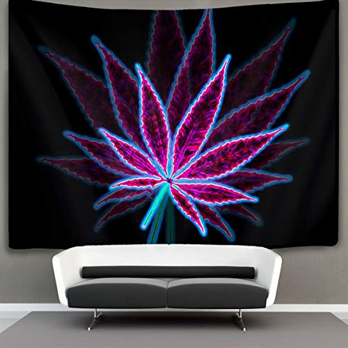 Tapestry Wall Hanging Marijuana Weed Leaf Purple Wall Tapestry with Art Nature Home Decorations for Living Room Bedroom Dorm Decor 50″ X 60″