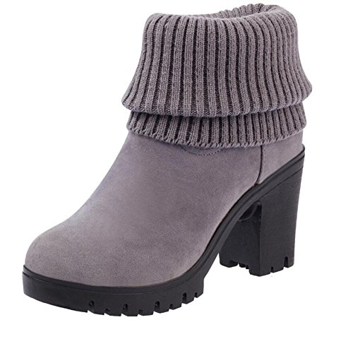 High Heeled Martin Women The Version The Boots Korean Boots Shoes With 37 Of Thick Plus Gray Boots Barrel High Warm Velvet The Cotton Martin 8Cm KHSKX Heeled Mouth HBUqRW