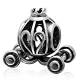Choruslove Antique Royal Princess Pumpkin Coach Charm 925 Sterling Silver Bead Fits on European Bracelet Compatible