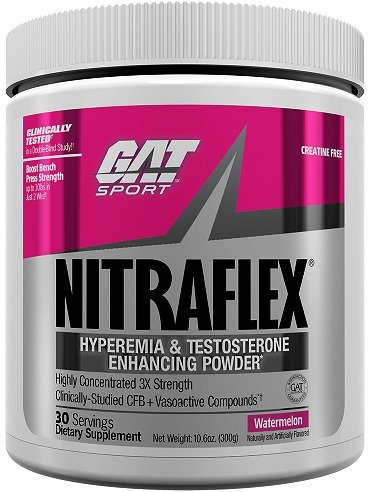 GAT Clinically Tested Nitraflex, Testosterone Enhancing Pre Workout, Watermelon, 300...