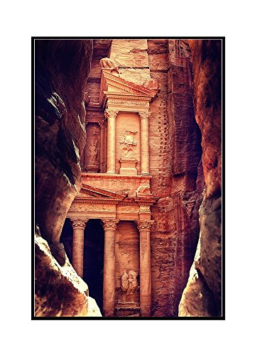 Petra, Jordan - The Treasury (Al-Khazneh) - Archaeological Site (24x36 Framed Gallery Wrapped Stretched Canvas) by Lantern Press
