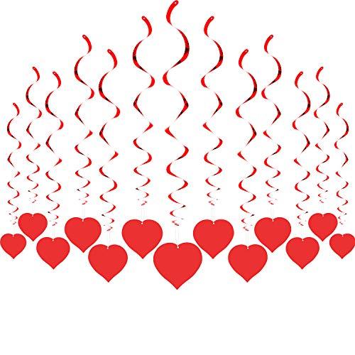 Tatuo 24 Sets Heart Hanging Swirls Valentine Day Hanging Decoration Red Swirl Decoration for Valentine Birthday Wedding Party