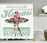 Ambesonne Hawaiian Decorations Collection, Tropical Hawaii Hibiscus Surfing Girl Silhouette Surfboard Retro Themed Artprint, Polyester Fabric Bathroom Shower Curtain Set with Hooks, Coral Green