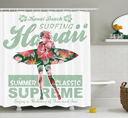 Ambesonne Hawaiian Decorations Collection, Tropical Hawaii Hibiscus Surfing Girl Silhouette Surfboard Retro Themed Artprint, Polyester Fabric Bathroom Shower Curtain Set with Hooks, Coral Green by Ambesonne